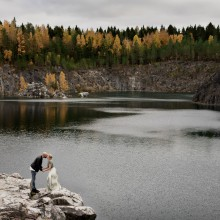 epic love couple having their portrait taken at quarry in the fa