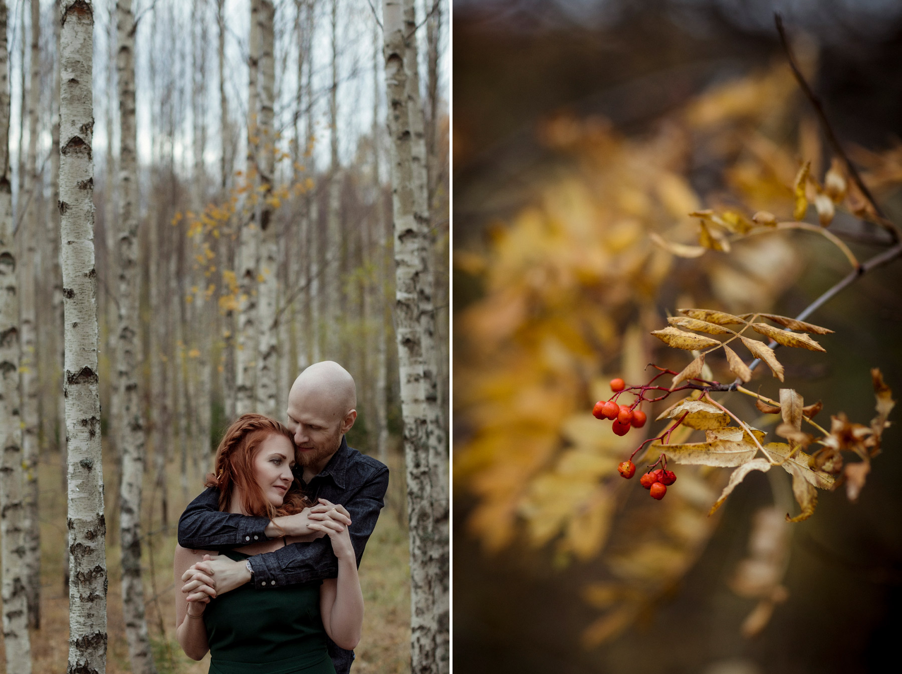 couple caressing amongst birch trees