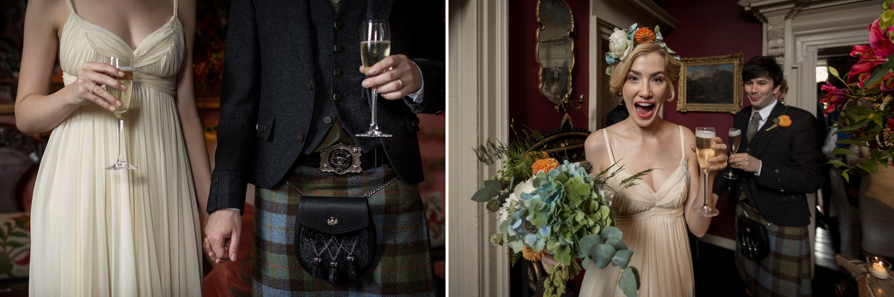 bride and groom at prestonfield house edinburgh