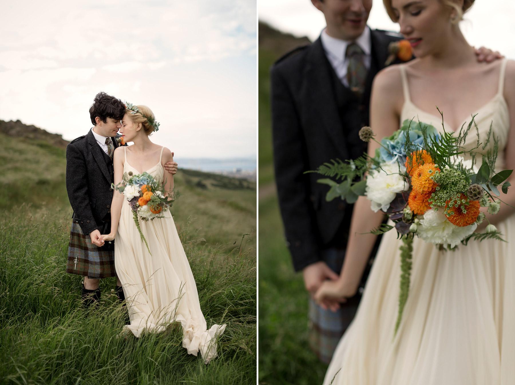 bride and groom at arthurs seat edinburgh
