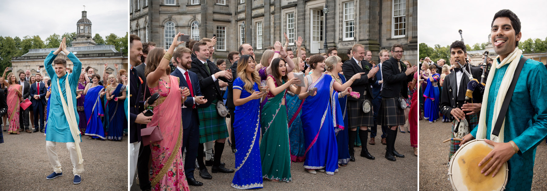 traditional hindi dance at Scottish wedding