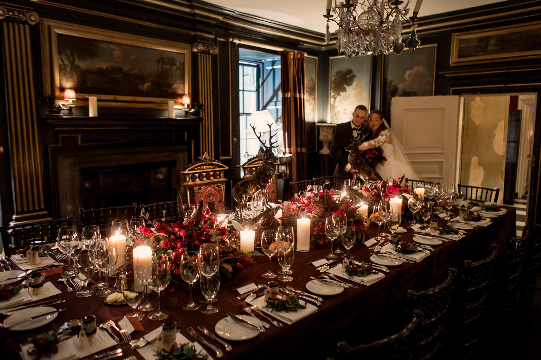 table setting scottish winter wedding