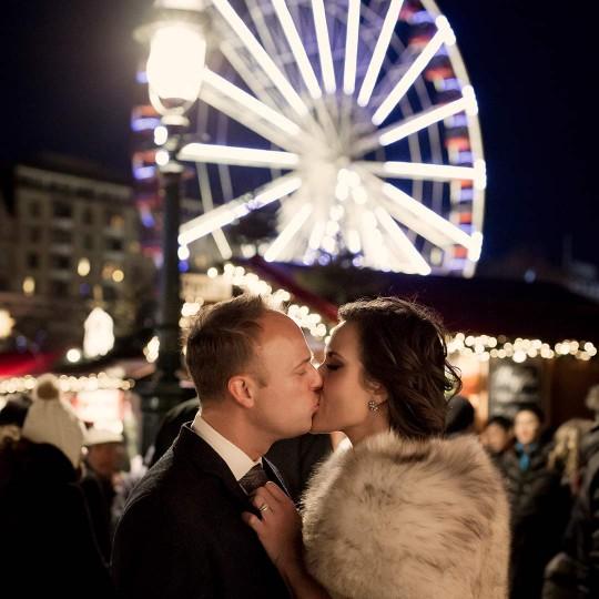 Elopement wedding photography on Christmas Eve 2016 in Edinburgh city centre and Dalhousie Castle by Paul Raeburn Wedding Photography.