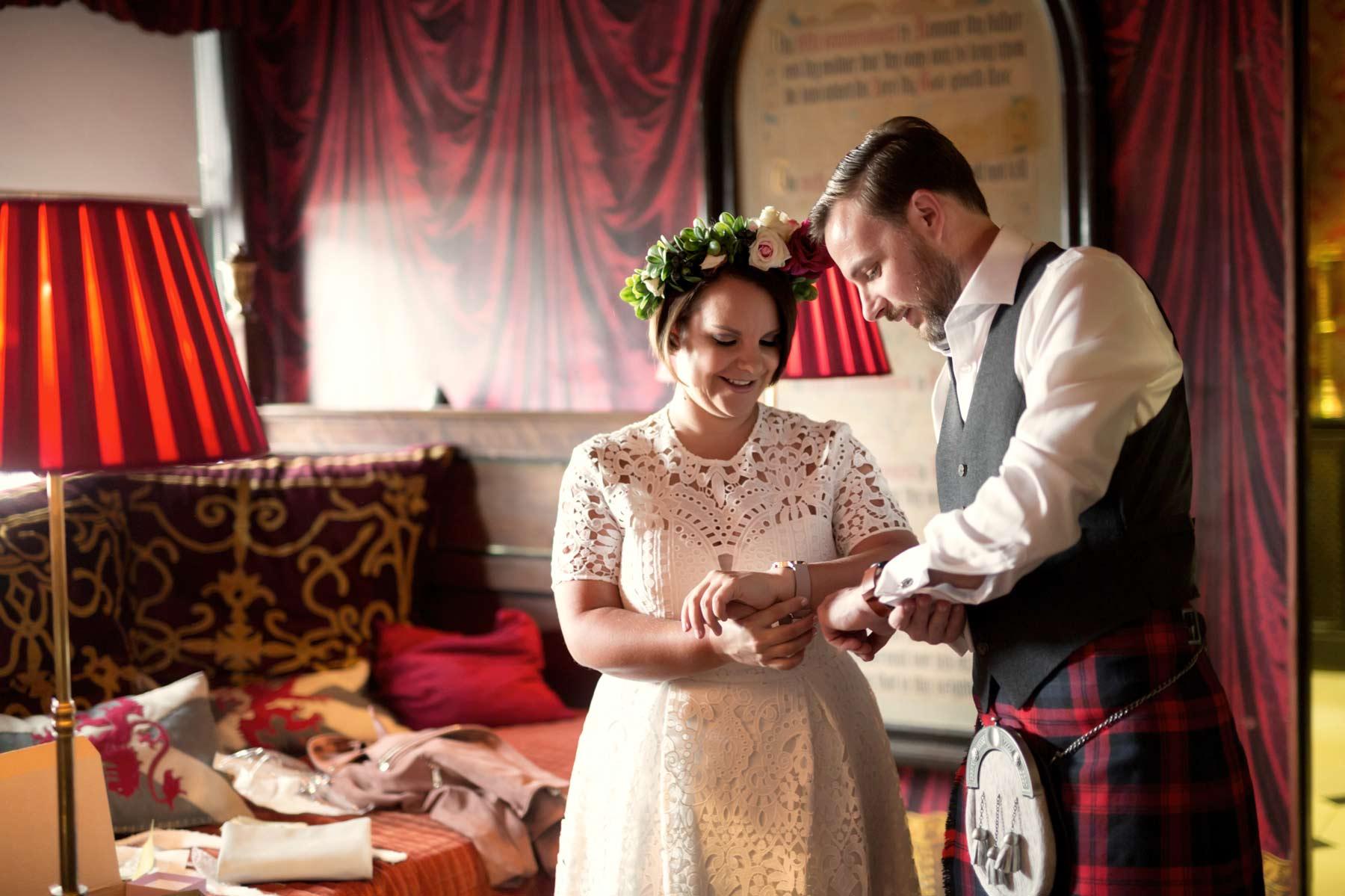 Bride, groom, gifts, The Witchery, wedding, Edinburgh