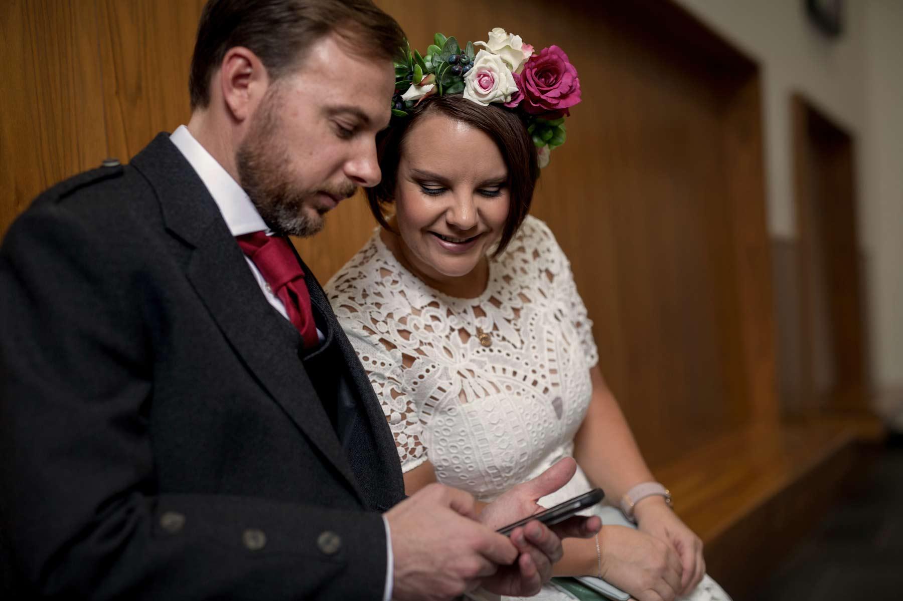 Bride, groom, selfie, Lothian Chambers, Edinburgh, wedding