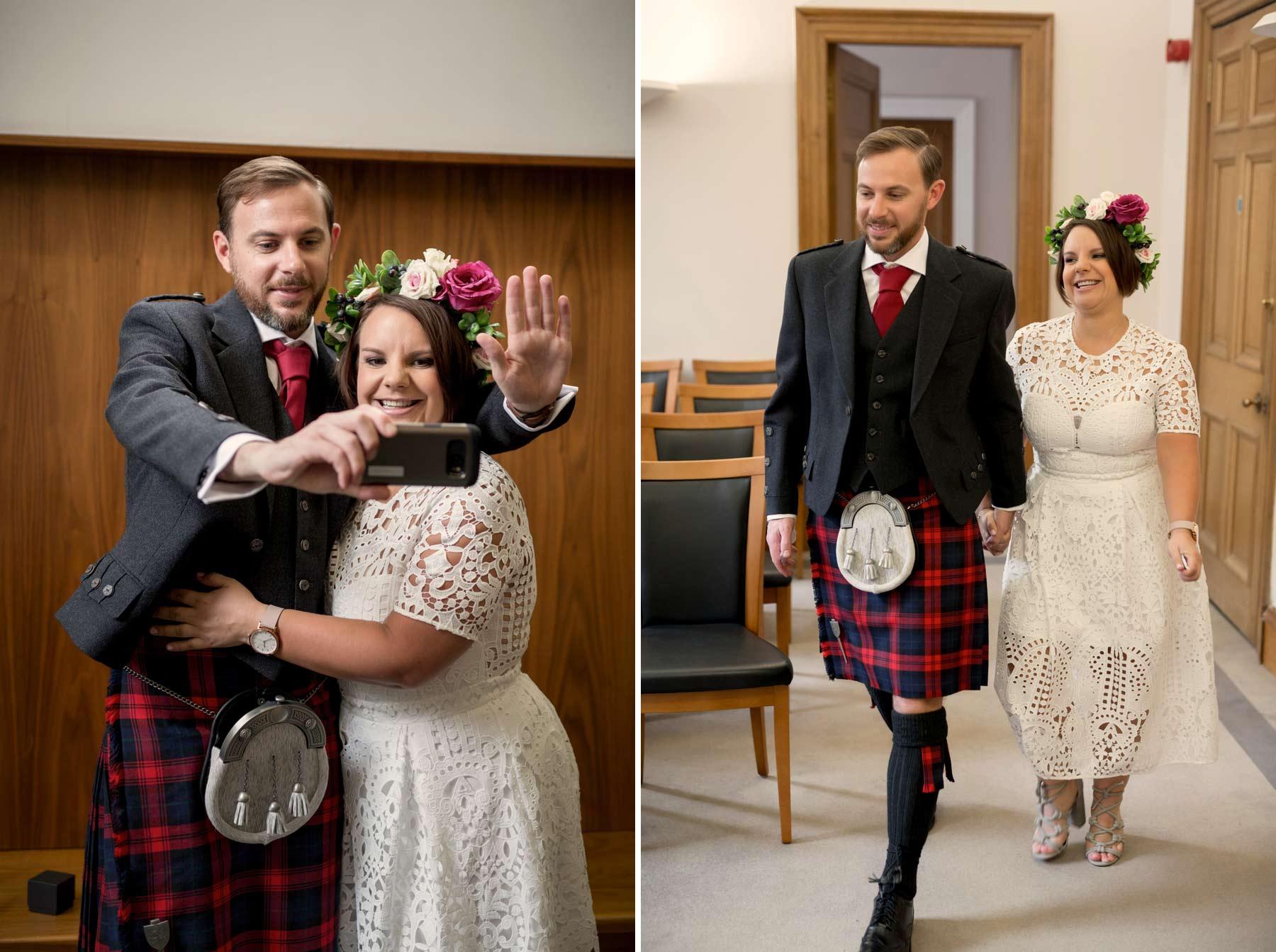 Bride, groom, wedding, selfie, ceremony, Lothian Chambers, Edinburgh