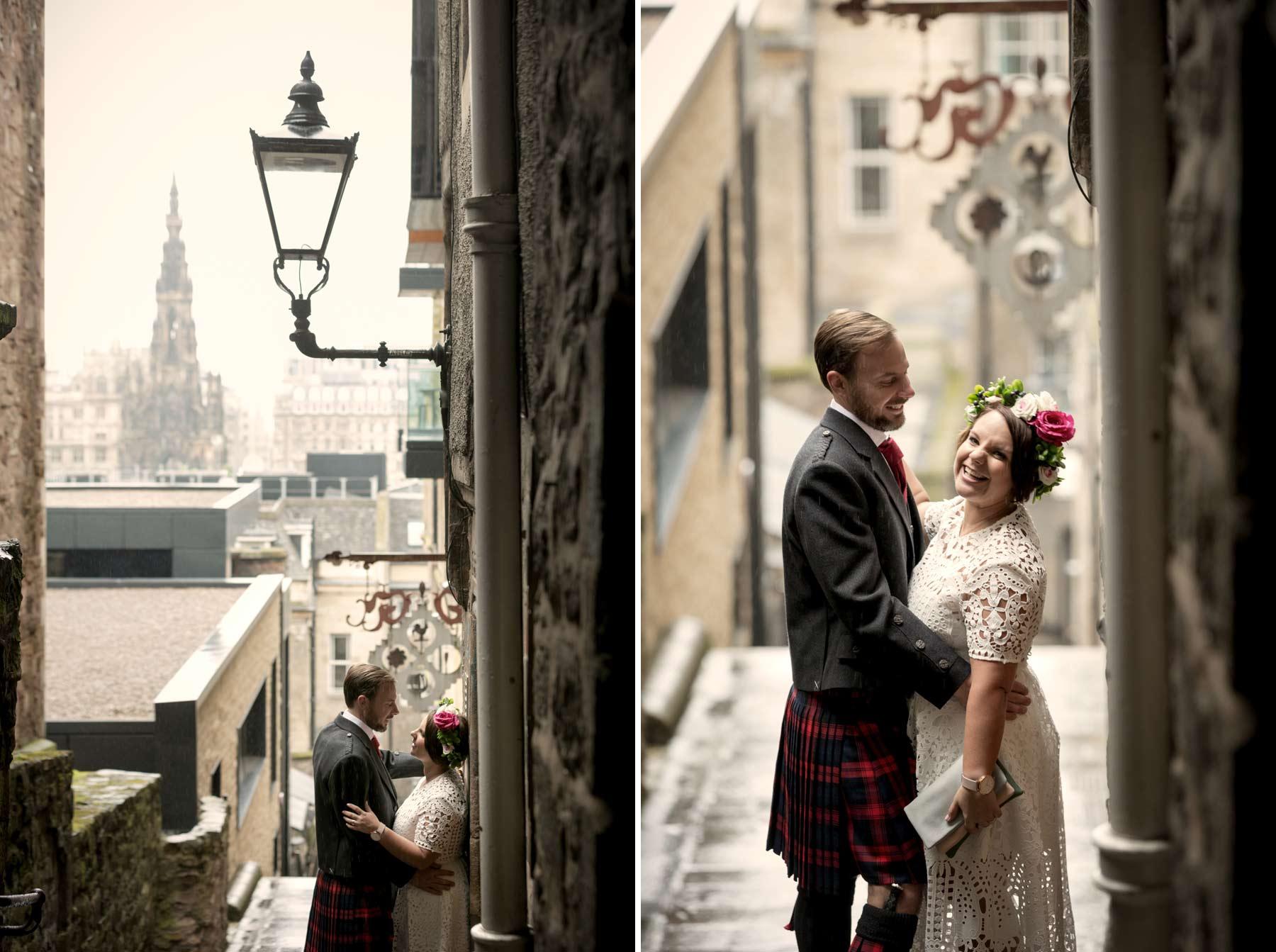 Bride, groom, wedding, portraits, photography, Advocate Close, Edinburgh, Old Town, Scotland