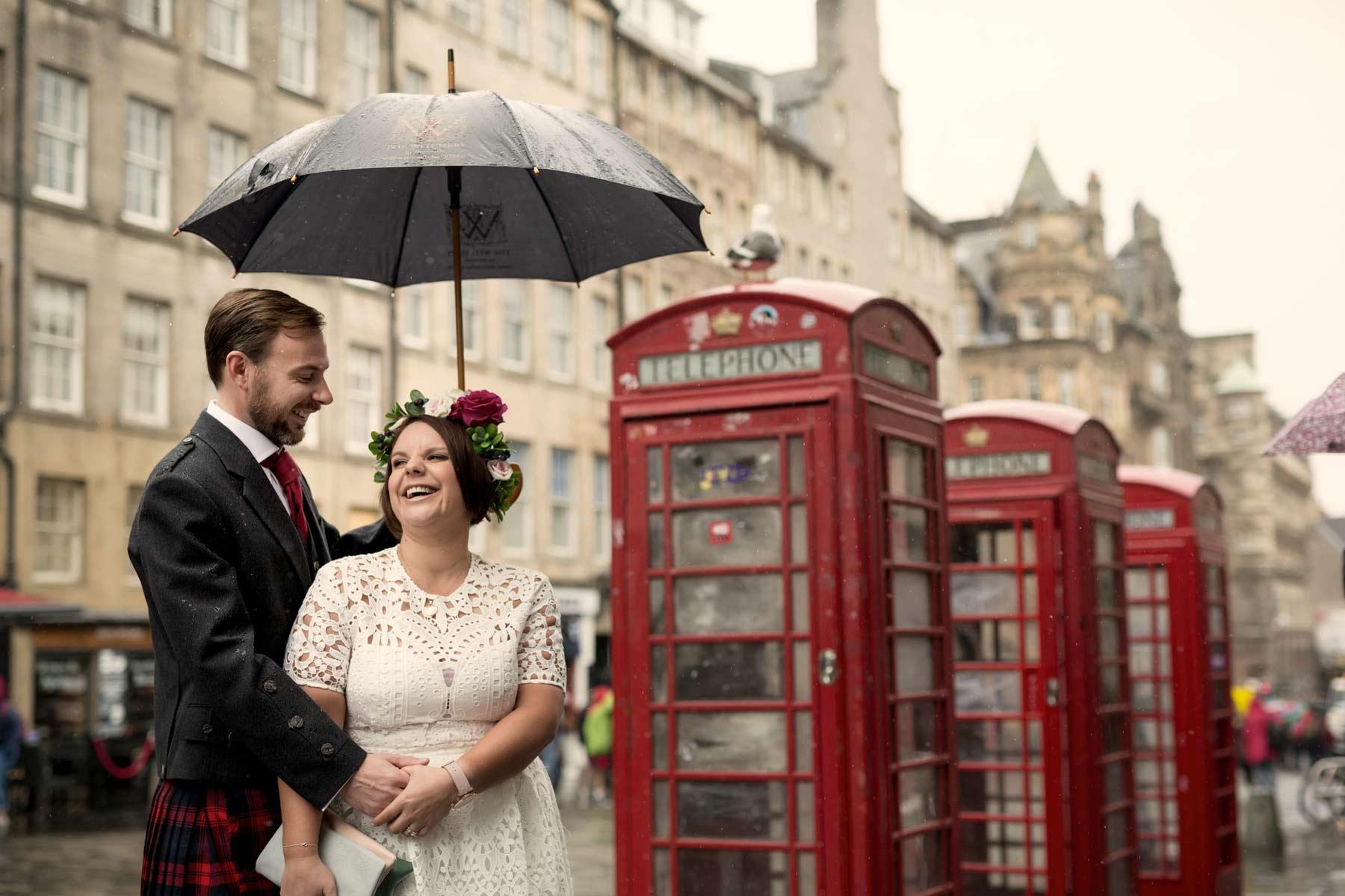 Bride, groom, wedding, portraits, photography, phone box, Edinburgh, Old Town, Scotland