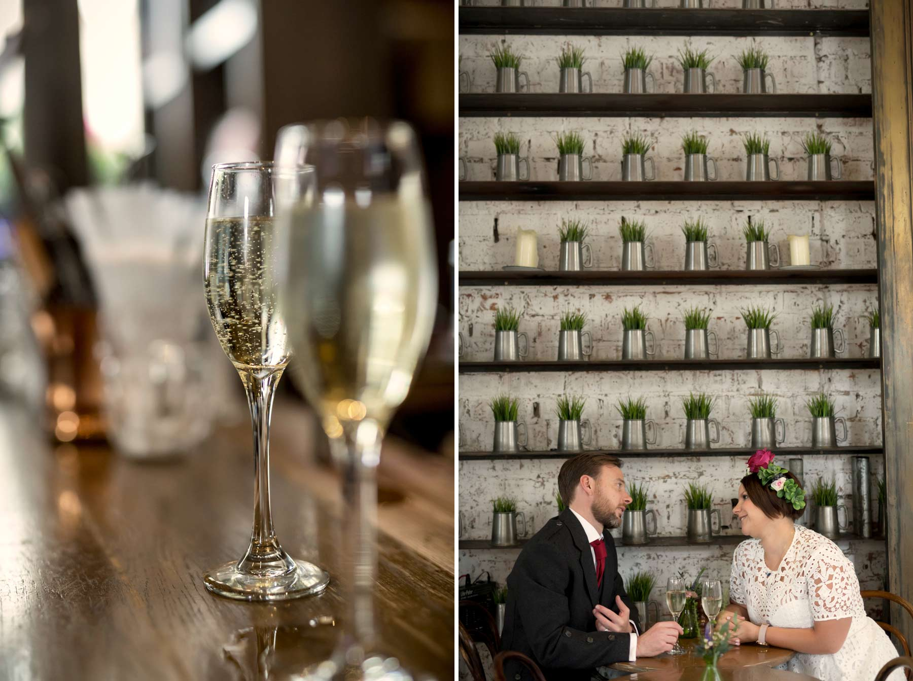 Bride, groom, Champagne, Inn on the Mile, wedding, Edinburgh