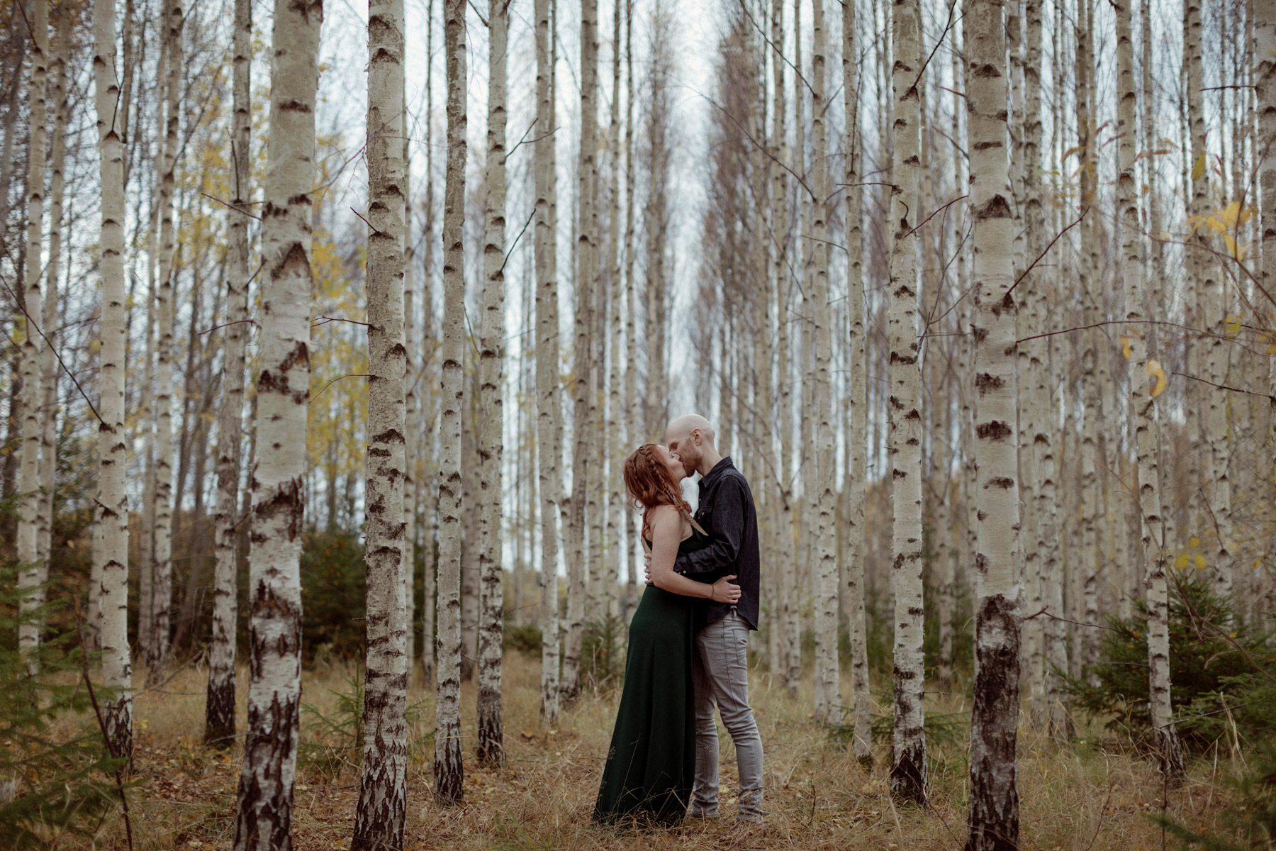 Kissing couple amongst Birch trees