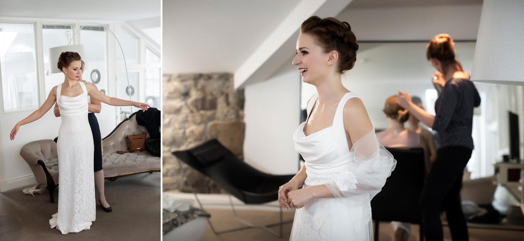 Nervous bride at Monachyle Mhor Hotel