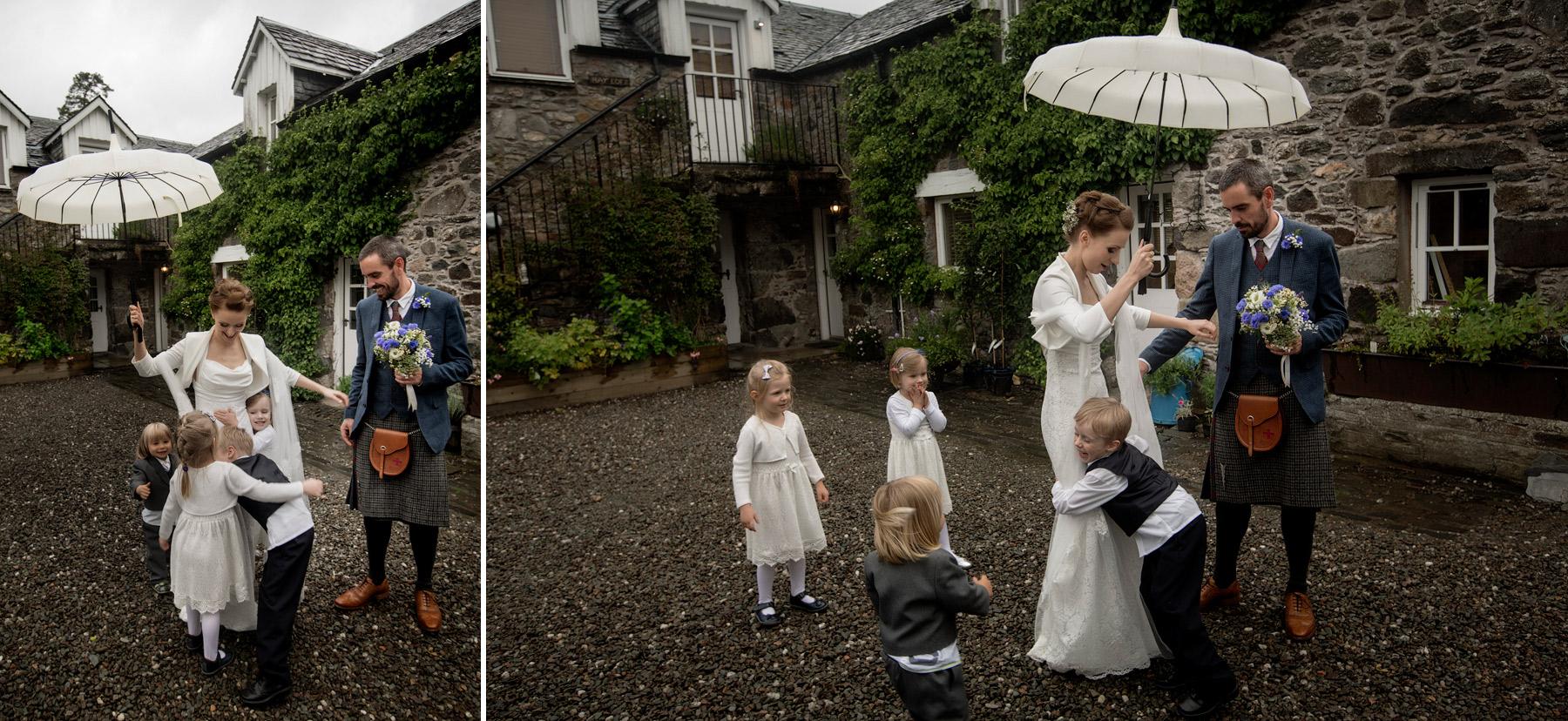 wedding party at Monachyle Mhor, Scotland