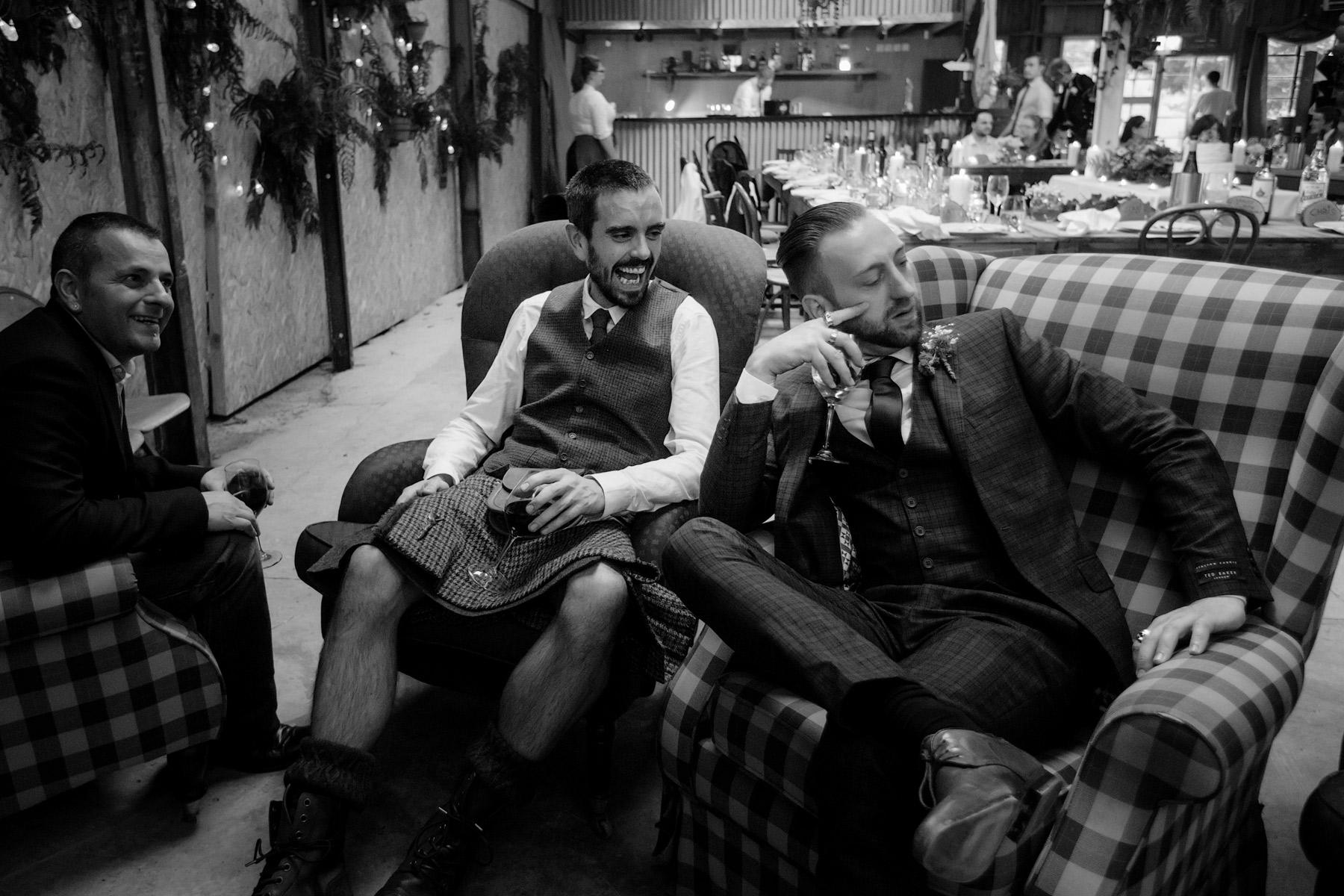 grooms party at barn wedding Monachyle Mhor