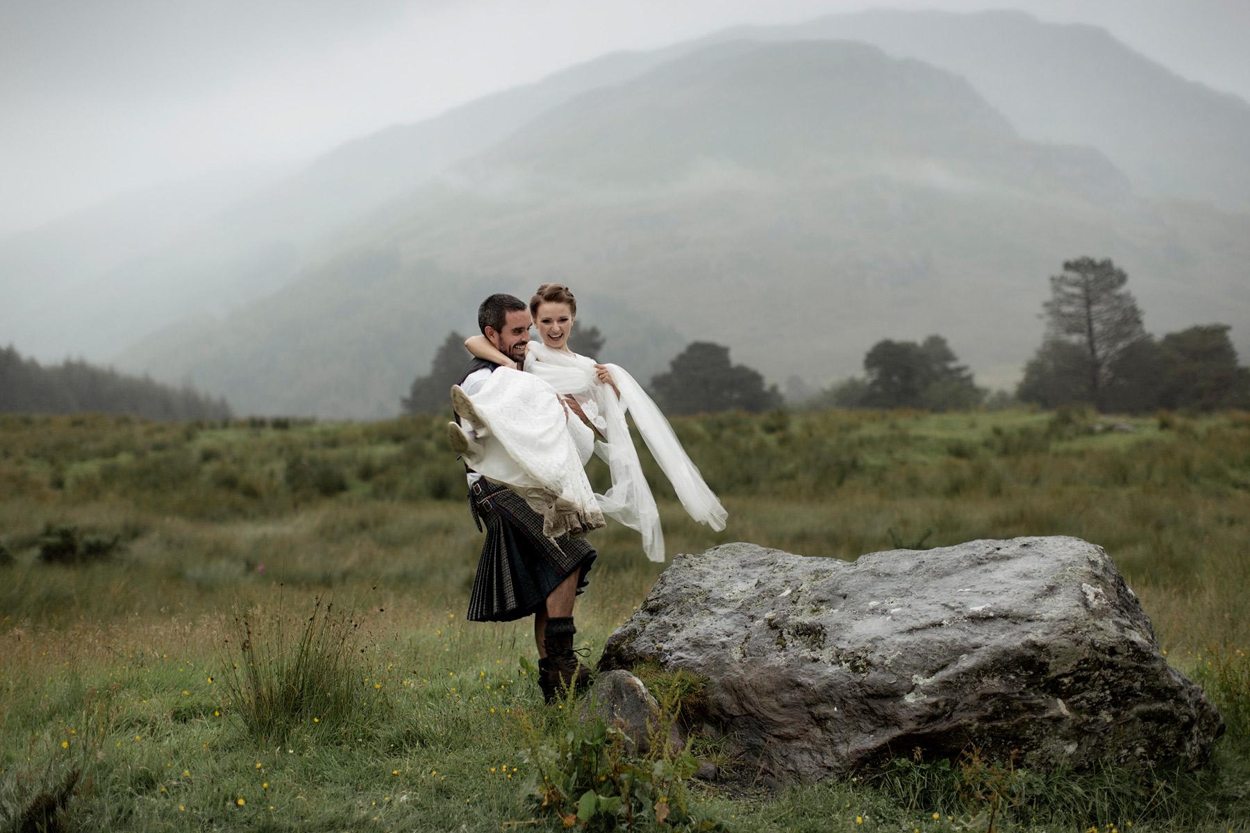 epic wedding portrait shot in Scotland