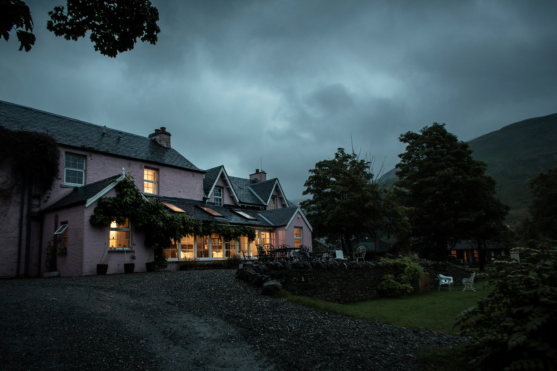 Monachyle Mhor Hotel at nightfall