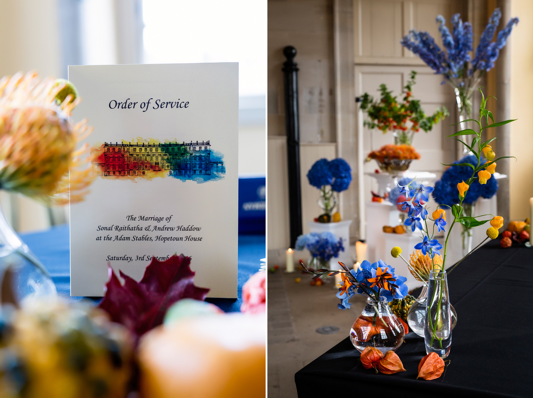 beautiful wedding colours at hopetoun house in scotland