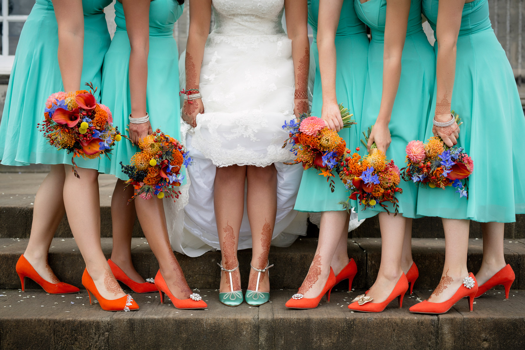 bridesmaids and a colour bomb