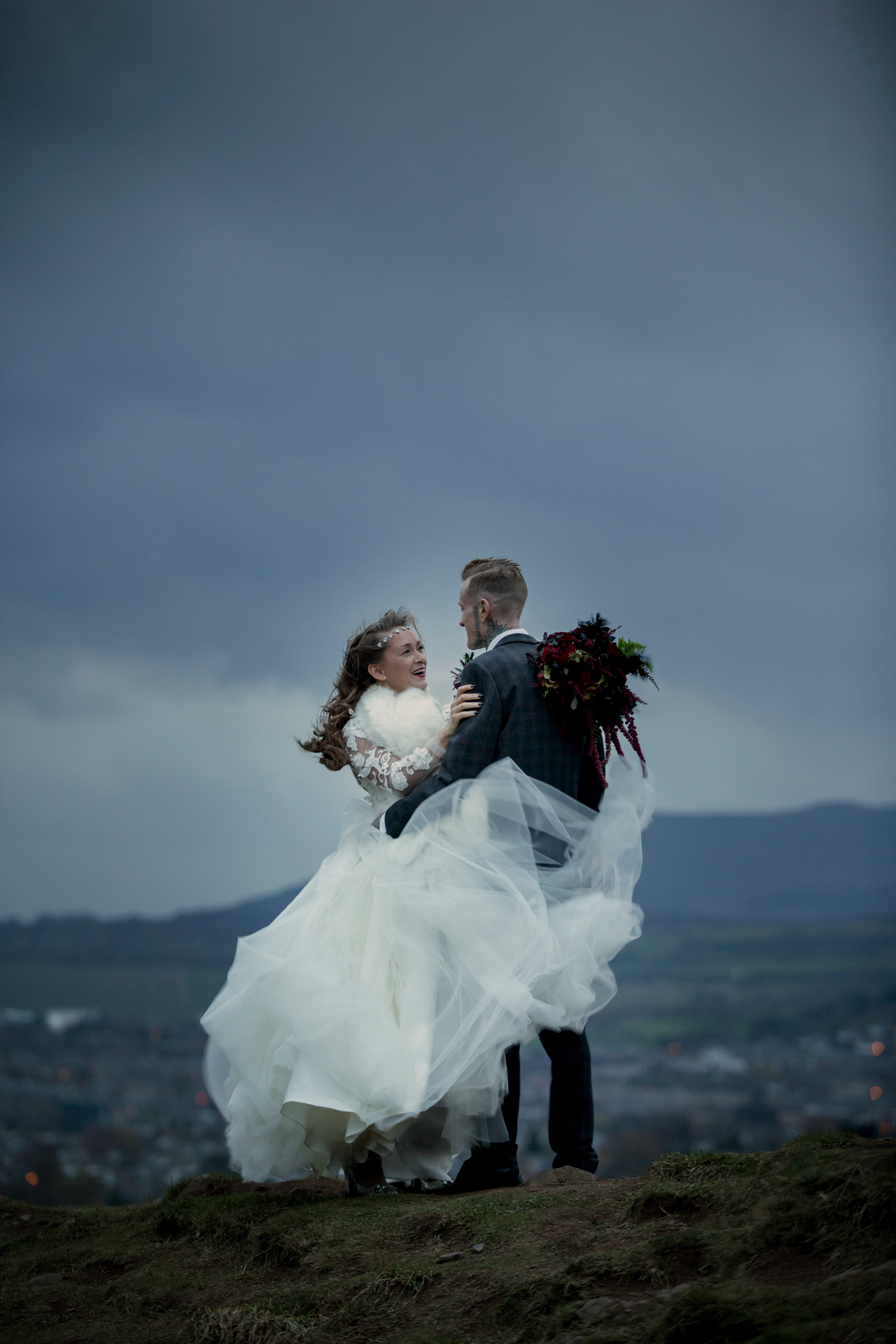 windy wedding portraits in scotland