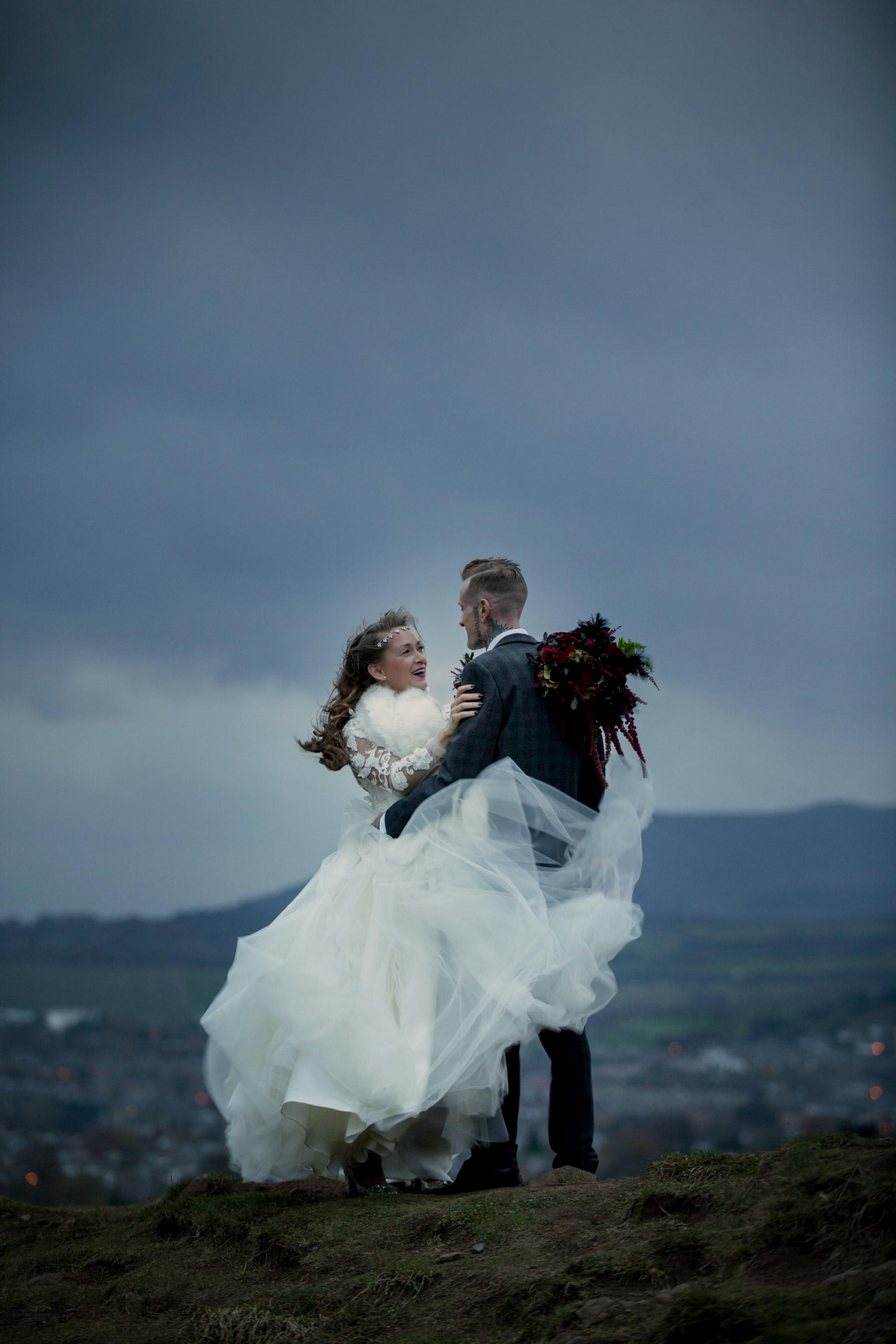 windy wedding portraits in scotland