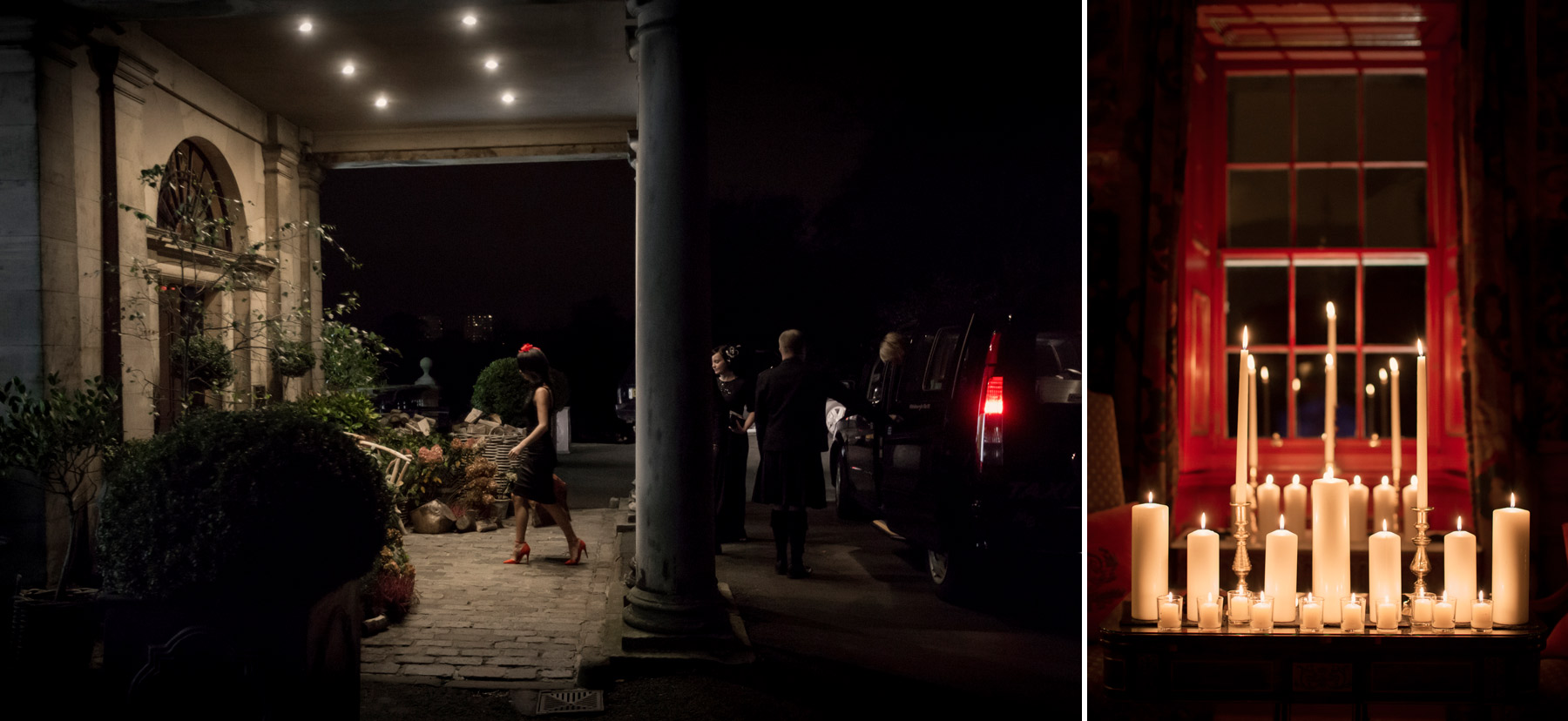 Guests arrival at halloween wedding ceremony scotland