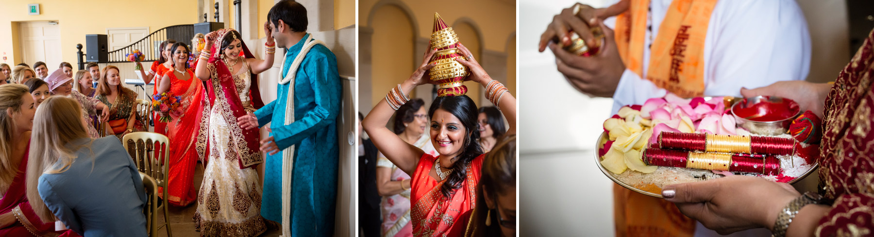 bride arrives at hindi ceremony Scotland