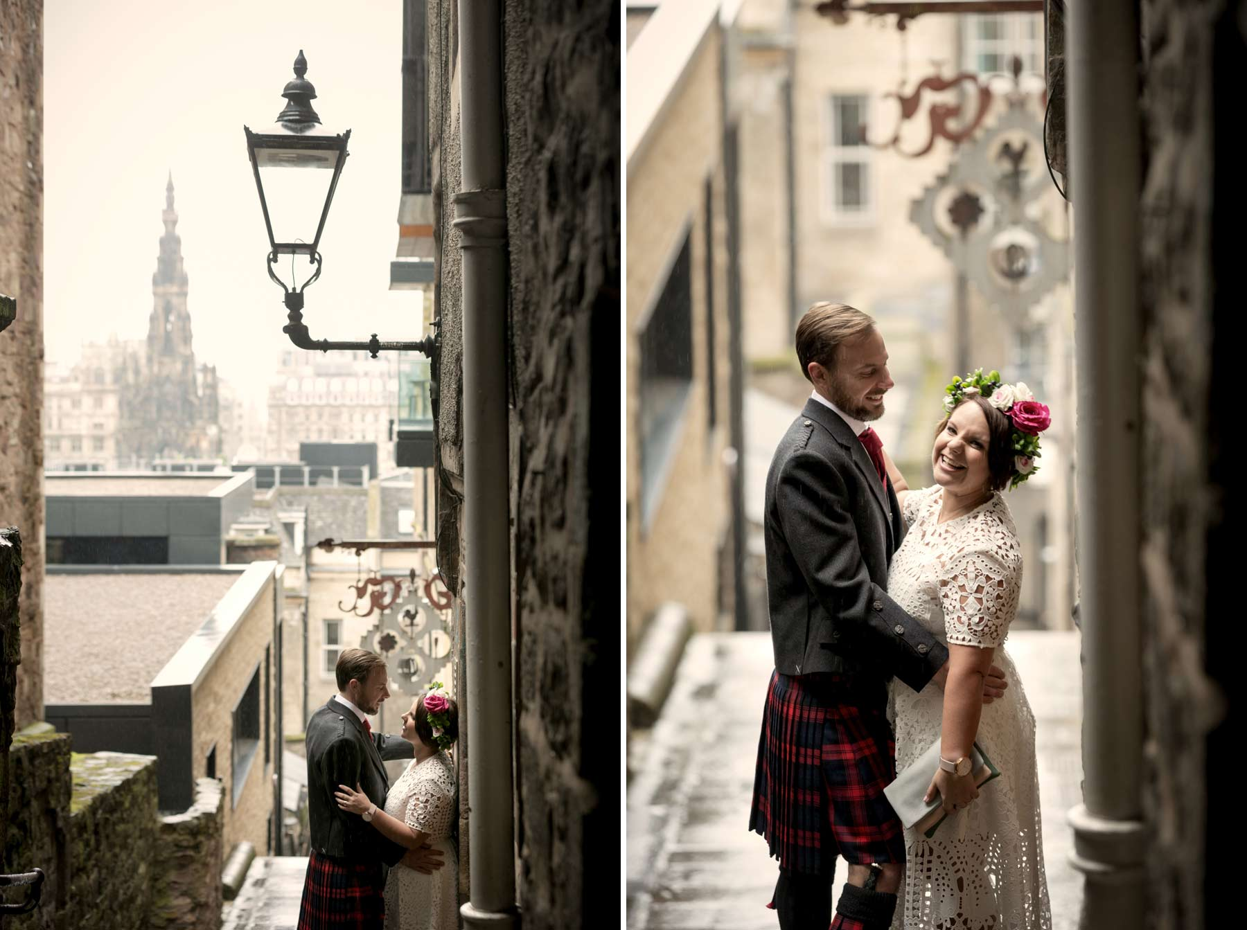 Bride, groom, wedding, portraits, photography, Advocate Close, Edinburgh, Old Town, Scotland
